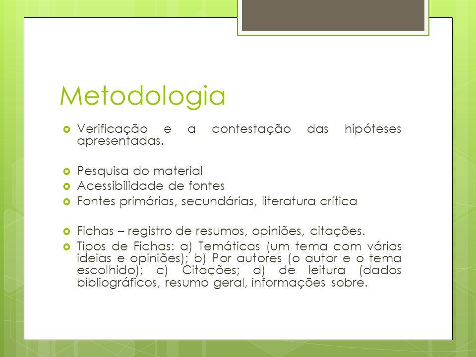 Metodologia Verificação e a contestação das hipóteses apresentadas. Pesquisa do material Acessibilidade de fontes Fontes primárias, secundárias, liter