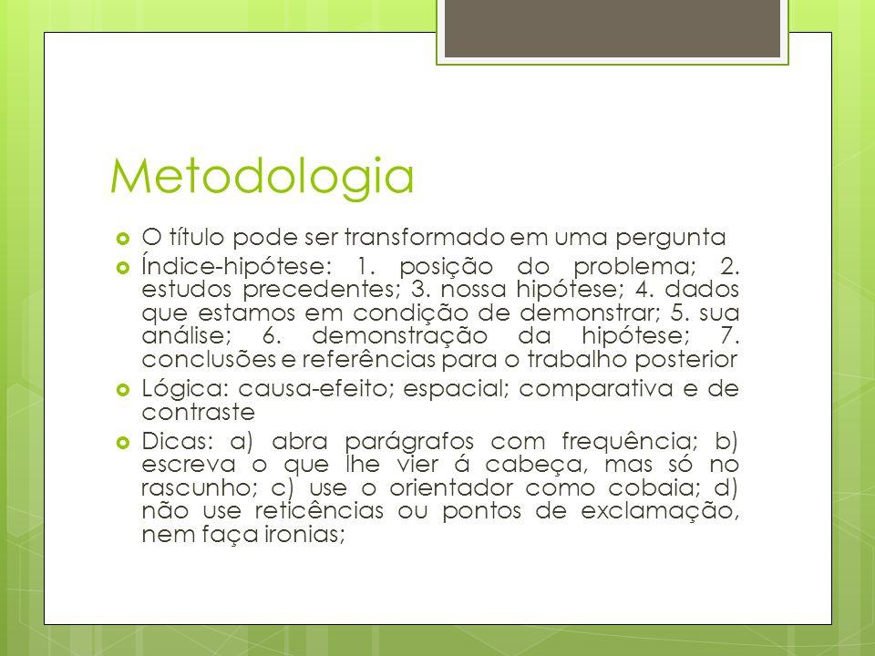 Metodologia O título pode ser transformado em uma pergunta Índice-hipótese: 1. posição do problema; 2. estudos precedentes; 3. nossa hipótese; 4. dado