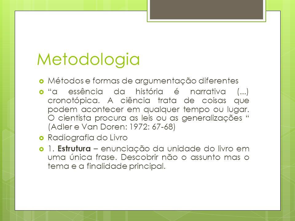 Metodologia Métodos e formas de argumentação diferentes a essência da história é narrativa (...) cronotópica.