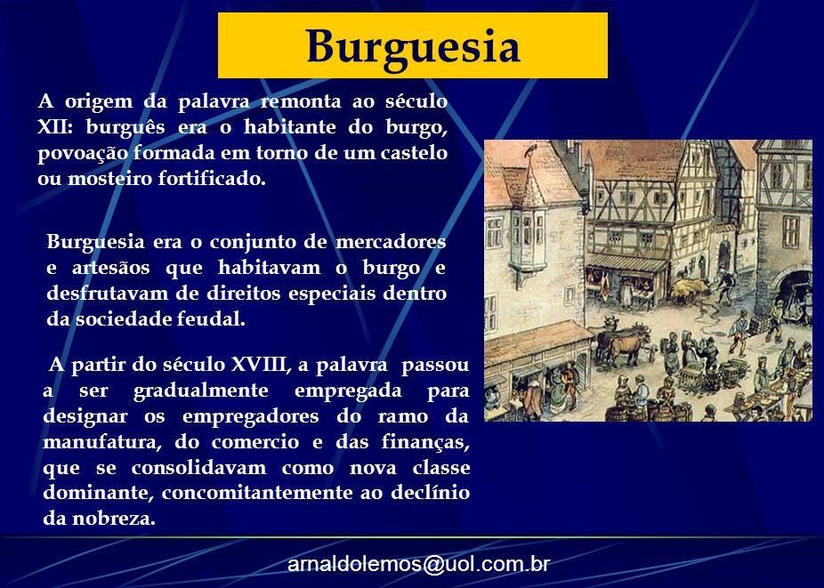 arnaldolemos@uol.com.br Burguesia A origem da palavra remonta ao século XII: burguês era o habitante do burgo, povoação formada em torno de um castelo