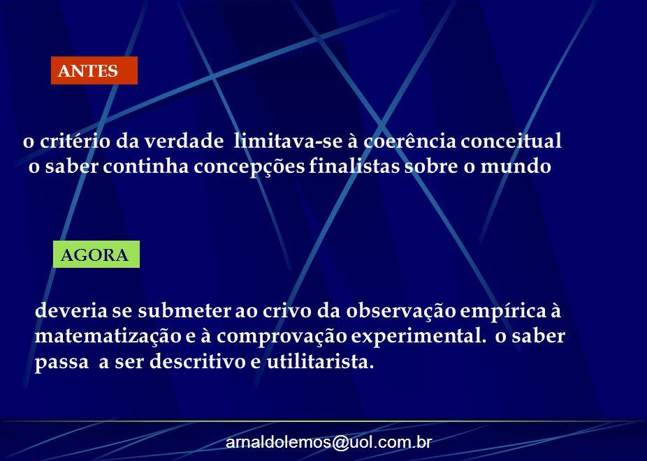 arnaldolemos@uol.com.br o critério da verdade limitava-se à coerência conceitual o saber continha concepções finalistas sobre o mundo ANTES AGORA deve