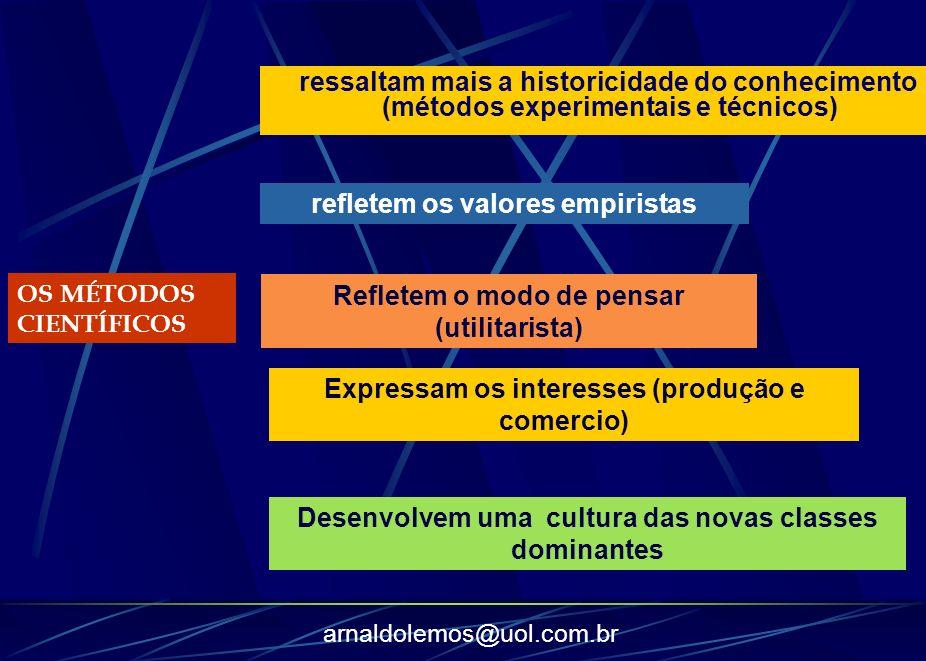 arnaldolemos@uol.com.br OS MÉTODOS CIENTÍFICOS ressaltam mais a historicidade do conhecimento (métodos experimentais e técnicos) refletem os valores e