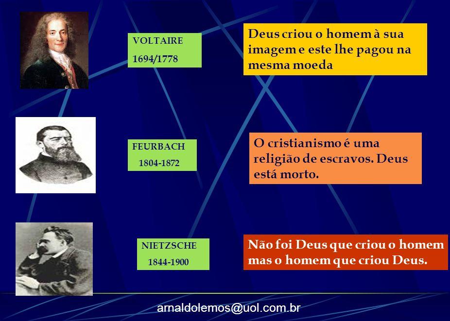 arnaldolemos@uol.com.br FEURBACH 1804-1872 Não foi Deus que criou o homem mas o homem que criou Deus. NIETZSCHE 1844-1900 O cristianismo é uma religiã