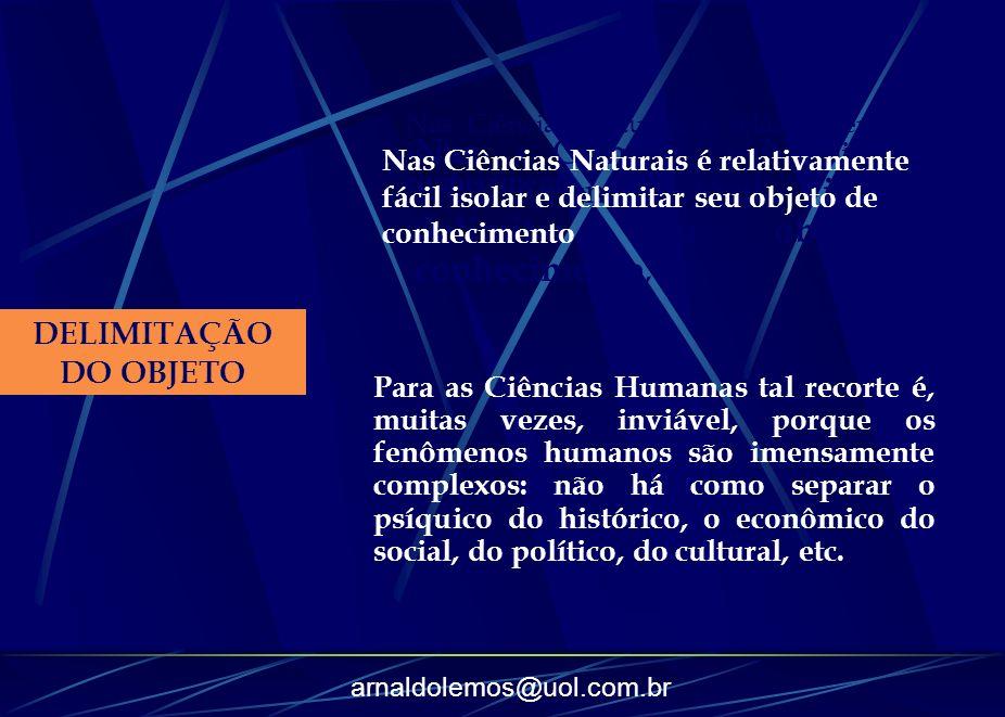 arnaldolemos@uol.com.br DELIMITAÇÃO DO OBJETO Nas Ciências Naturais é relativamente fácil isolar e delimitar seu objeto de conhecimento, Nas Ciências