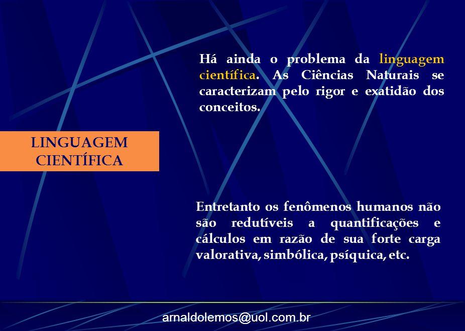 arnaldolemos@uol.com.br LINGUAGEM CIENTÍFICA Há ainda o problema da linguagem científica. As Ciências Naturais se caracterizam pelo rigor e exatidão d