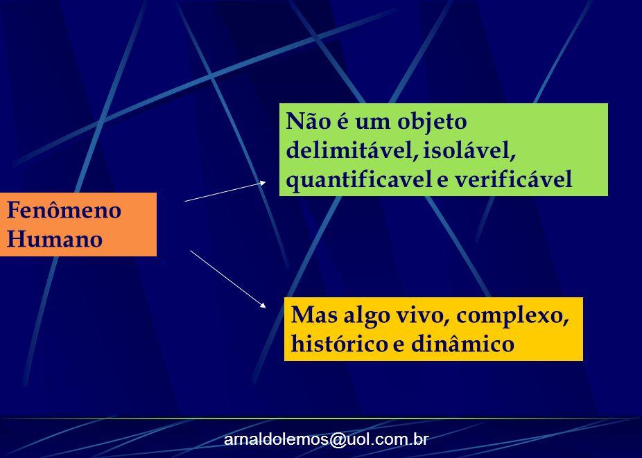 arnaldolemos@uol.com.br Fenômeno Humano Não é um objeto delimitável, isolável, quantificavel e verificável Mas algo vivo, complexo, histórico e dinâmi