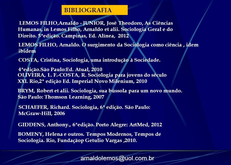arnaldolemos@uol.com.br LEMOS FILHO, Arnaldo. O surgimento da Sociologia como ciência, idem ibidem COSTA, Cristina, Sociologia, uma introdução à Socie