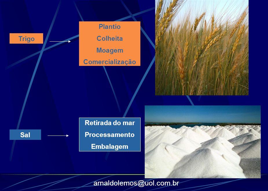 arnaldolemos@uol.com.br Trigo Plantio Colheita Moagem Comercialização Sal Retirada do mar Processamento Embalagem