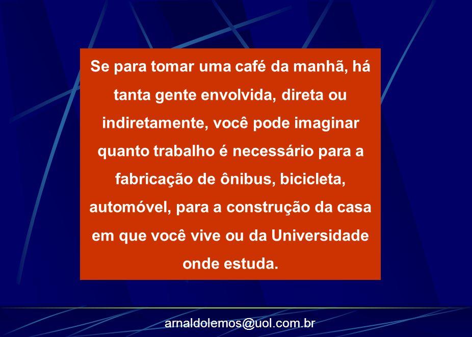 arnaldolemos@uol.com.br Se para tomar uma café da manhã, há tanta gente envolvida, direta ou indiretamente, você pode imaginar quanto trabalho é neces