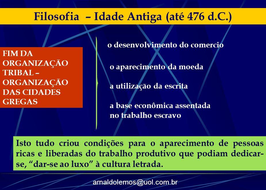 arnaldolemos@uol.com.br Filosofia – Idade Antiga (até 476 d.C.) FIM DA ORGANIZAÇÃO TRIBAL – ORGANIZAÇÃO DAS CIDADES GREGAS o desenvolvimento do comerc