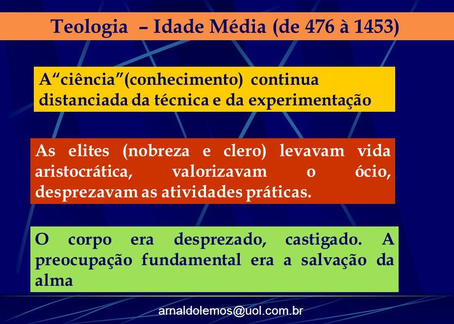 arnaldolemos@uol.com.br Teologia – Idade Média (de 476 à 1453) Aciência(conhecimento) continua distanciada da técnica e da experimentação As elites (n