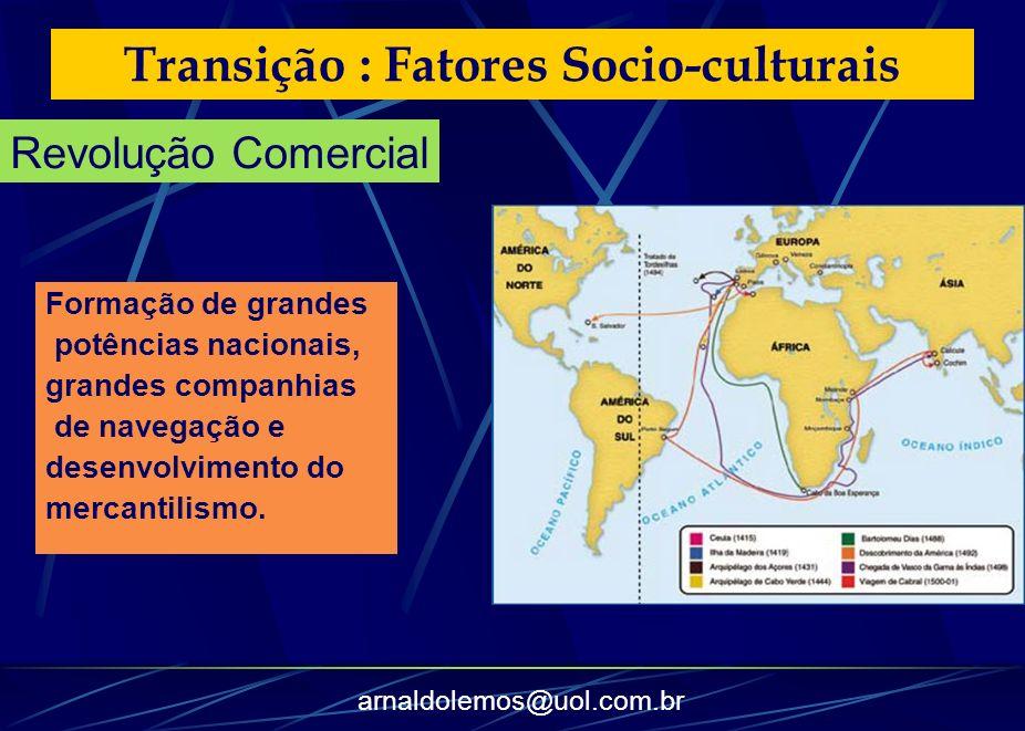 arnaldolemos@uol.com.br Transição : Fatores Socio-culturais Formação de grandes potências nacionais, grandes companhias de navegação e desenvolvimento
