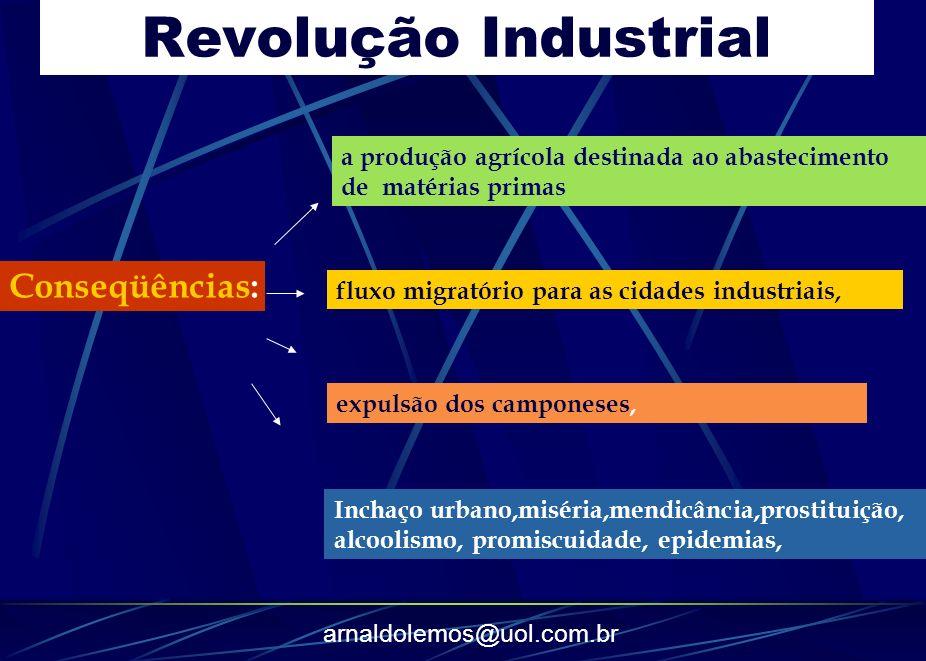 arnaldolemos@uol.com.br Conseqüências: a produção agrícola destinada ao abastecimento de matérias primas fluxo migratório para as cidades industriais,