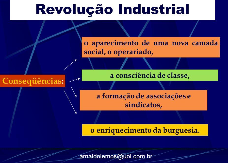 arnaldolemos@uol.com.br Revolução Industrial Conseqüências: o aparecimento de uma nova camada social, o operariado, a consciência de classe, a formaçã