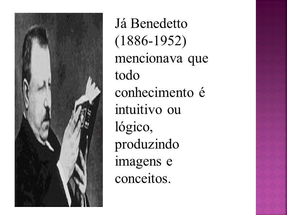 Já Benedetto (1886-1952) mencionava que todo conhecimento é intuitivo ou lógico, produzindo imagens e conceitos.