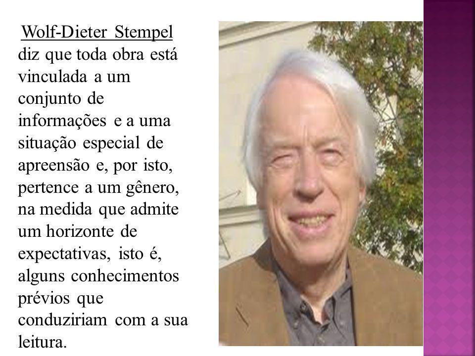 Wolf-Dieter Stempel diz que toda obra está vinculada a um conjunto de informações e a uma situação especial de apreensão e, por isto, pertence a um gê
