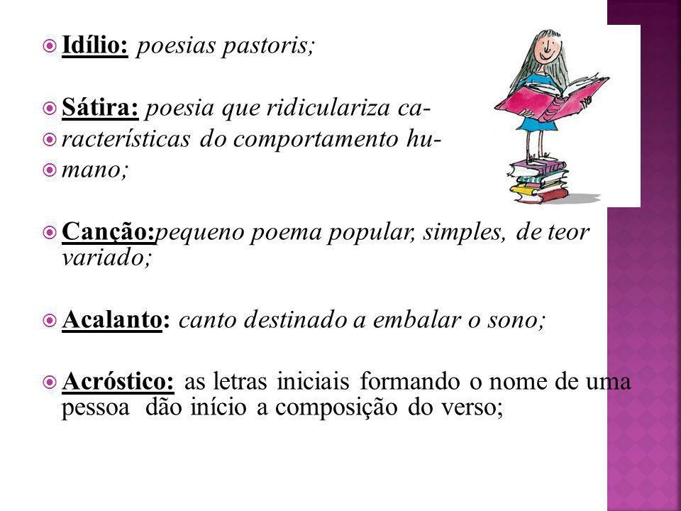 Idílio: poesias pastoris; Sátira: poesia que ridiculariza ca- racterísticas do comportamento hu- mano; Canção:pequeno poema popular, simples, de teor