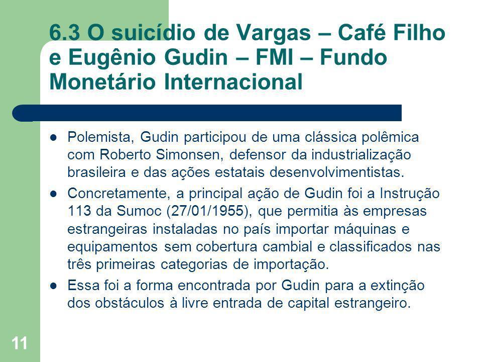 11 6.3 O suicídio de Vargas – Café Filho e Eugênio Gudin – FMI – Fundo Monetário Internacional Polemista, Gudin participou de uma clássica polêmica co