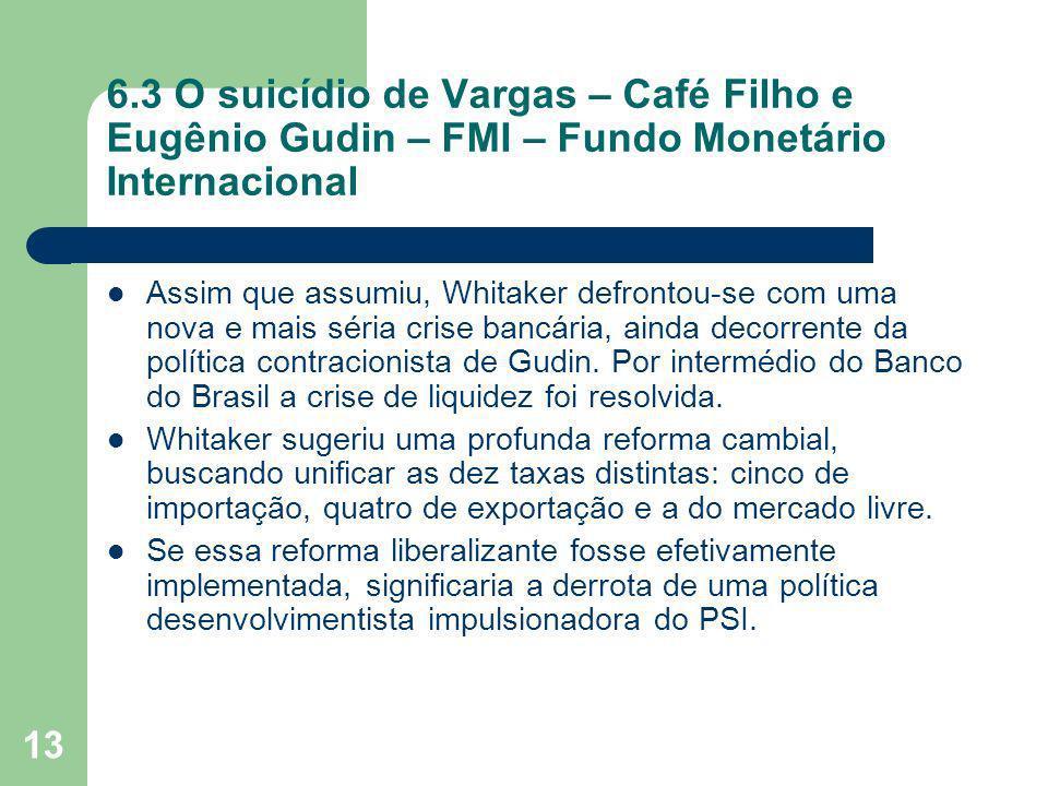 13 6.3 O suicídio de Vargas – Café Filho e Eugênio Gudin – FMI – Fundo Monetário Internacional Assim que assumiu, Whitaker defrontou-se com uma nova e