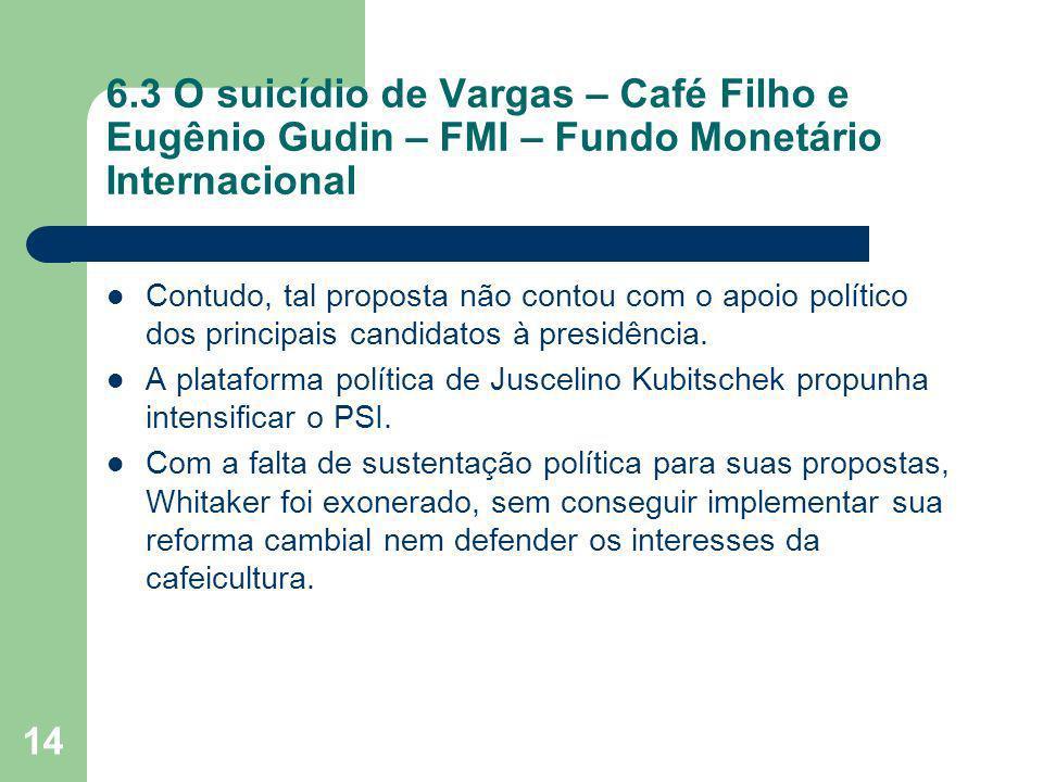 14 6.3 O suicídio de Vargas – Café Filho e Eugênio Gudin – FMI – Fundo Monetário Internacional Contudo, tal proposta não contou com o apoio político d