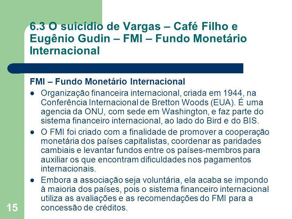 15 6.3 O suicídio de Vargas – Café Filho e Eugênio Gudin – FMI – Fundo Monetário Internacional FMI – Fundo Monetário Internacional Organização finance