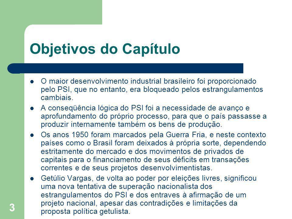 3 Objetivos do Capítulo O maior desenvolvimento industrial brasileiro foi proporcionado pelo PSI, que no entanto, era bloqueado pelos estrangulamentos