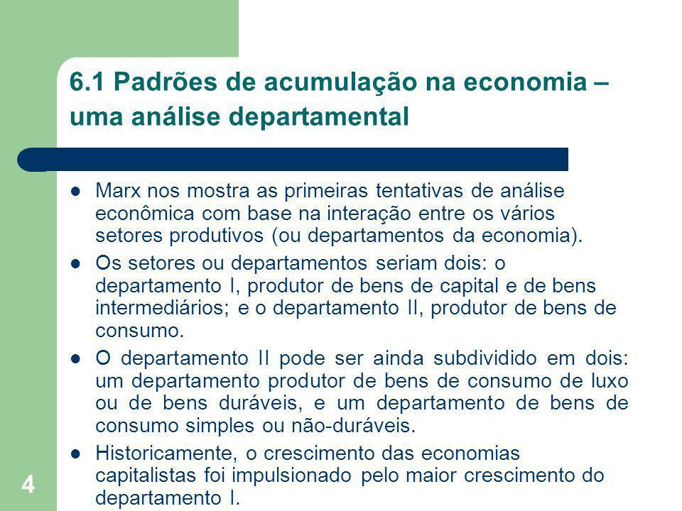 4 6.1 Padrões de acumulação na economia – uma análise departamental Marx nos mostra as primeiras tentativas de análise econômica com base na interação