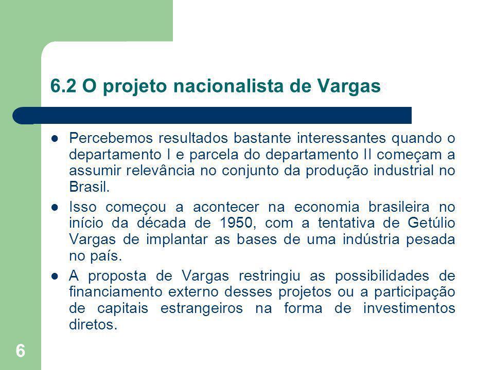 7 6.2 O projeto nacionalista de Vargas Era uma acumulação financiada internamente pelas altas taxas de lucro da indústria impulsionada pela política de valorização cambial e pela transferência dos excedentes do setor agroexportador para a indústria.