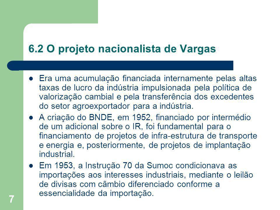 8 6.2 O projeto nacionalista de Vargas Os leilões foram uma importante fonte de arrecadação para o Estado, além de manter a política cambial de favorecimento das indústrias substitutivas de importação.