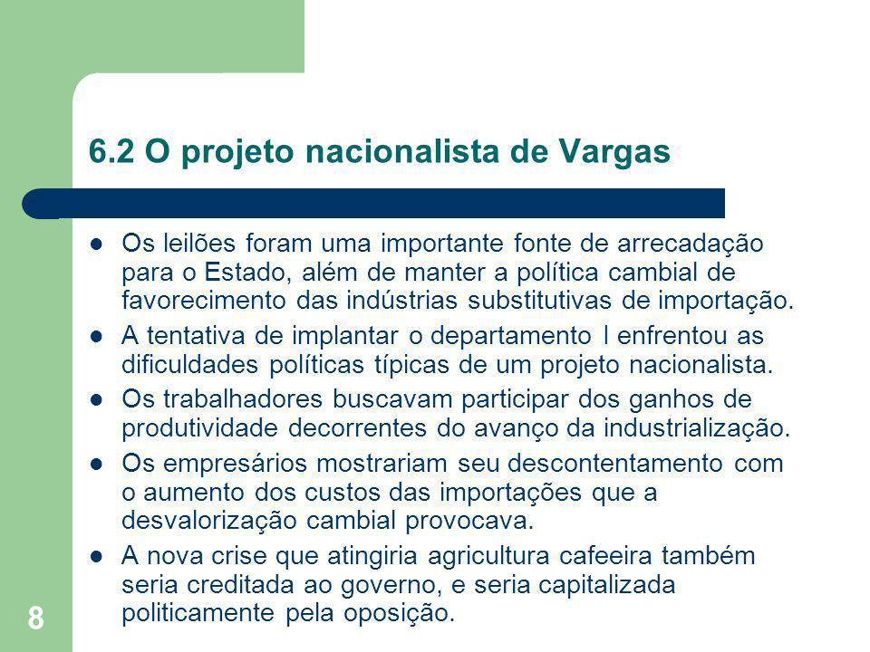 8 6.2 O projeto nacionalista de Vargas Os leilões foram uma importante fonte de arrecadação para o Estado, além de manter a política cambial de favore