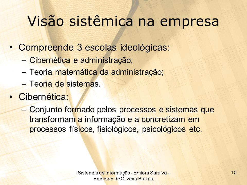 Sistemas de Informação - Editora Saraiva - Emerson de Oliveira Batista 10 Visão sistêmica na empresa Compreende 3 escolas ideológicas: –Cibernética e