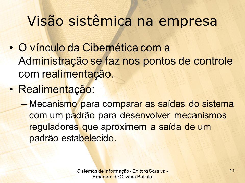Sistemas de Informação - Editora Saraiva - Emerson de Oliveira Batista 11 Visão sistêmica na empresa O vínculo da Cibernética com a Administração se f