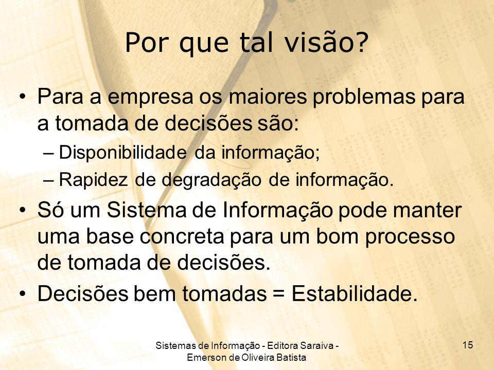 Sistemas de Informação - Editora Saraiva - Emerson de Oliveira Batista 15 Por que tal visão? Para a empresa os maiores problemas para a tomada de deci