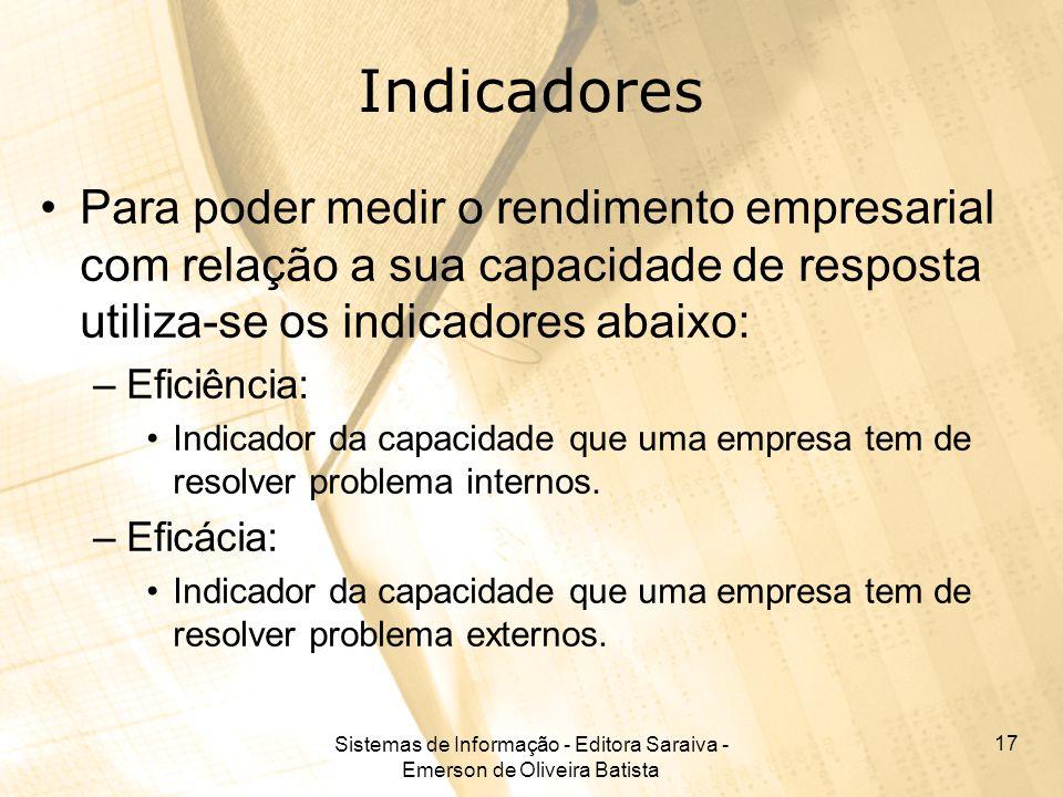 Sistemas de Informação - Editora Saraiva - Emerson de Oliveira Batista 17 Indicadores Para poder medir o rendimento empresarial com relação a sua capa
