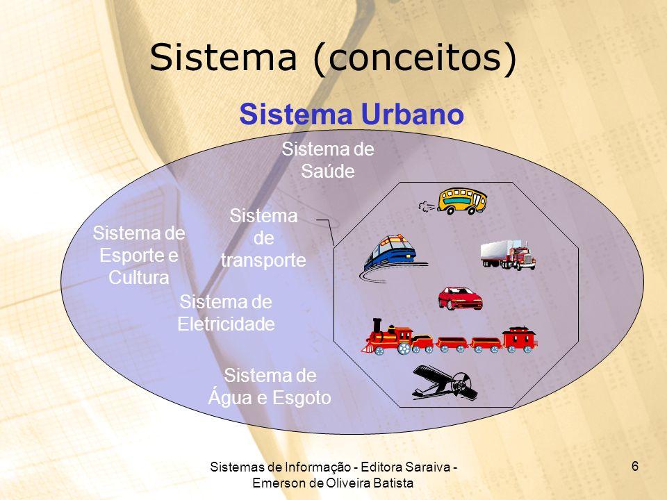Sistemas de Informação - Editora Saraiva - Emerson de Oliveira Batista 6 Sistema (conceitos) Sistema de transporte Sistema de Eletricidade Sistema de