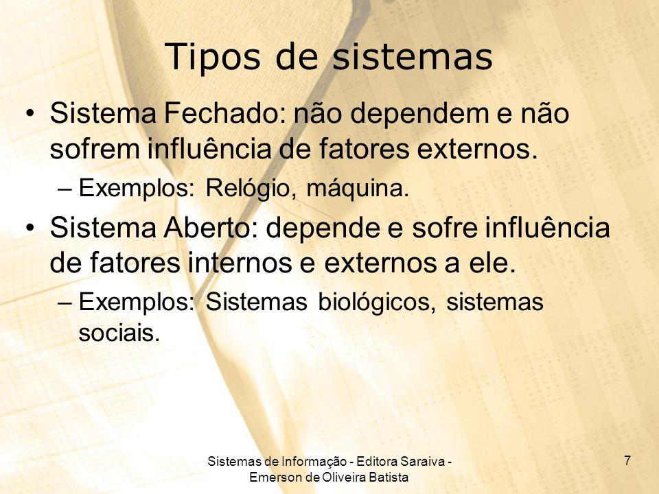 Sistemas de Informação - Editora Saraiva - Emerson de Oliveira Batista 7 Tipos de sistemas Sistema Fechado: não dependem e não sofrem influência de fa