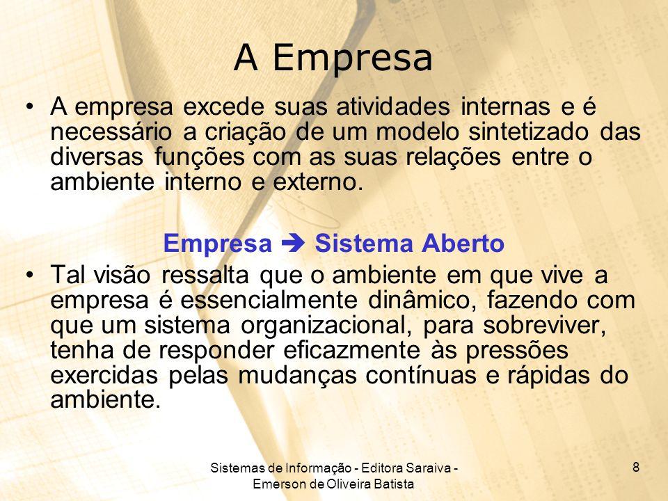 Sistemas de Informação - Editora Saraiva - Emerson de Oliveira Batista 8 A Empresa A empresa excede suas atividades internas e é necessário a criação
