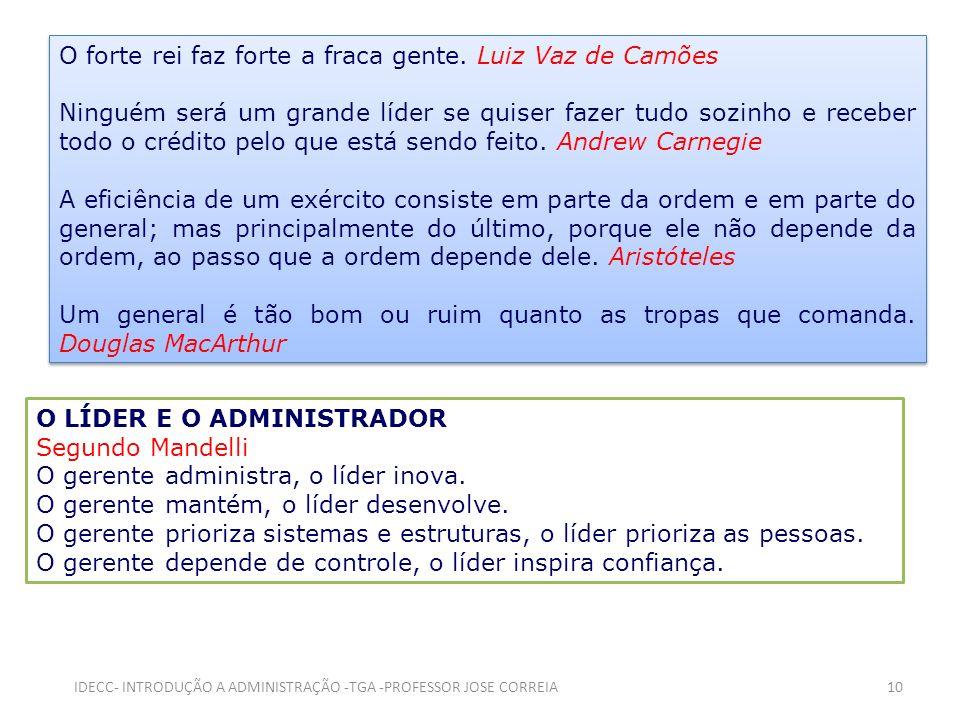 O forte rei faz forte a fraca gente. Luiz Vaz de Camões Ninguém será um grande líder se quiser fazer tudo sozinho e receber todo o crédito pelo que es