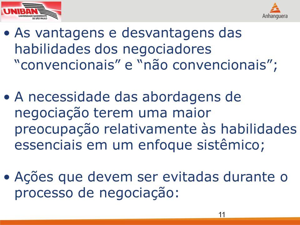 As vantagens e desvantagens das habilidades dos negociadores convencionais e não convencionais; A necessidade das abordagens de negociação terem uma m