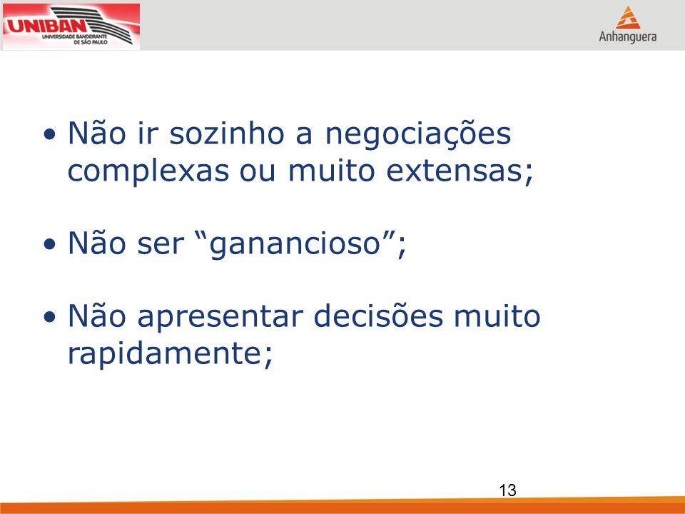 Não ir sozinho a negociações complexas ou muito extensas; Não ser ganancioso; Não apresentar decisões muito rapidamente; 13