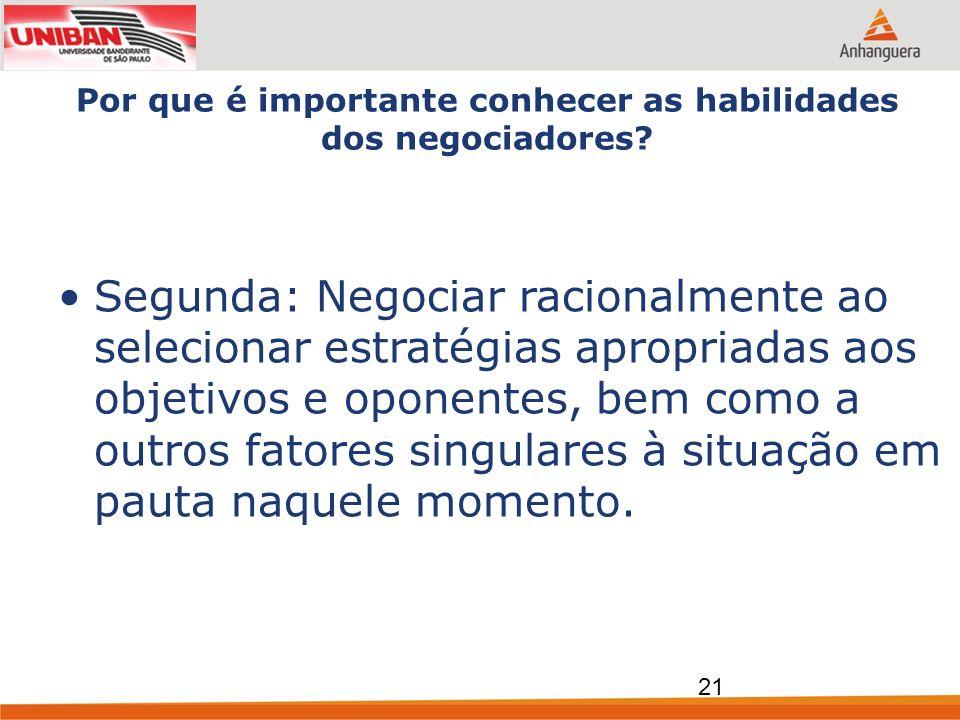 Por que é importante conhecer as habilidades dos negociadores? Segunda: Negociar racionalmente ao selecionar estratégias apropriadas aos objetivos e o