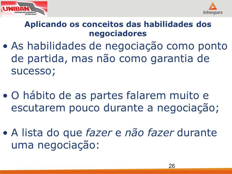Aplicando os conceitos das habilidades dos negociadores As habilidades de negociação como ponto de partida, mas não como garantia de sucesso; O hábito