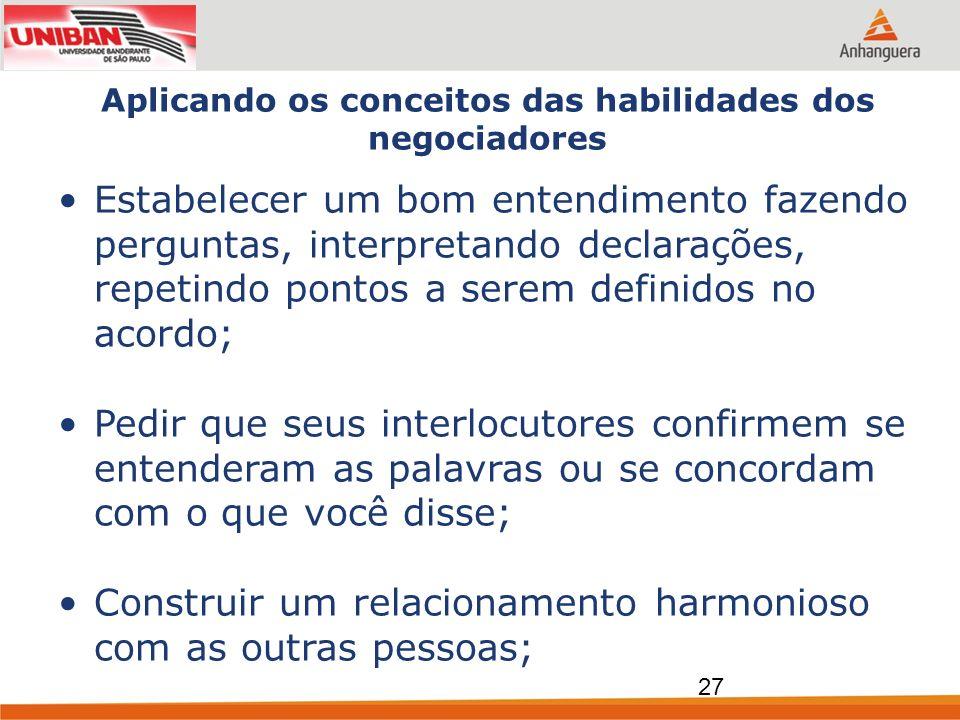 Aplicando os conceitos das habilidades dos negociadores Estabelecer um bom entendimento fazendo perguntas, interpretando declarações, repetindo pontos