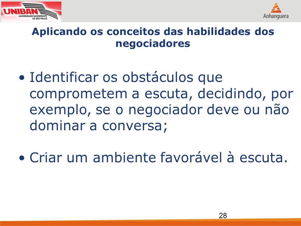 Aplicando os conceitos das habilidades dos negociadores Identificar os obstáculos que comprometem a escuta, decidindo, por exemplo, se o negociador de