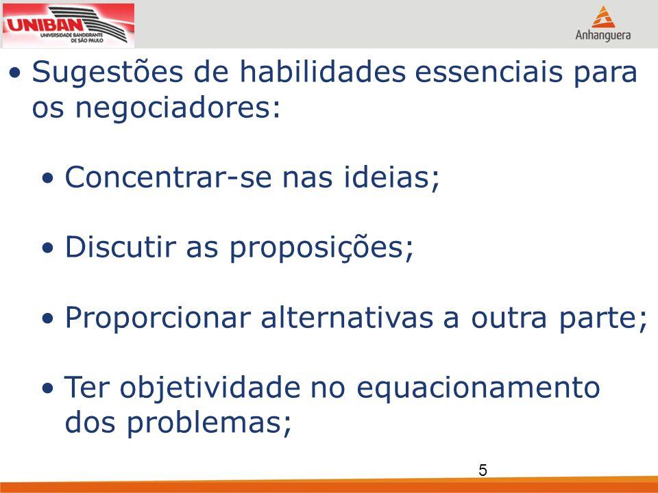 Sugestões de habilidades essenciais para os negociadores: Concentrar-se nas ideias; Discutir as proposições; Proporcionar alternativas a outra parte;