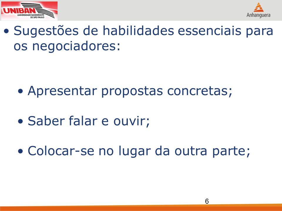 Sugestões de habilidades essenciais para os negociadores: Apresentar propostas concretas; Saber falar e ouvir; Colocar-se no lugar da outra parte; 6