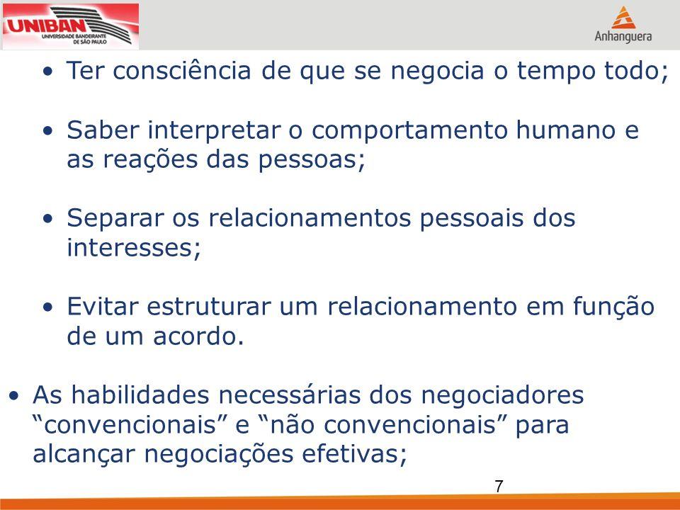 Ter consciência de que se negocia o tempo todo; Saber interpretar o comportamento humano e as reações das pessoas; Separar os relacionamentos pessoais