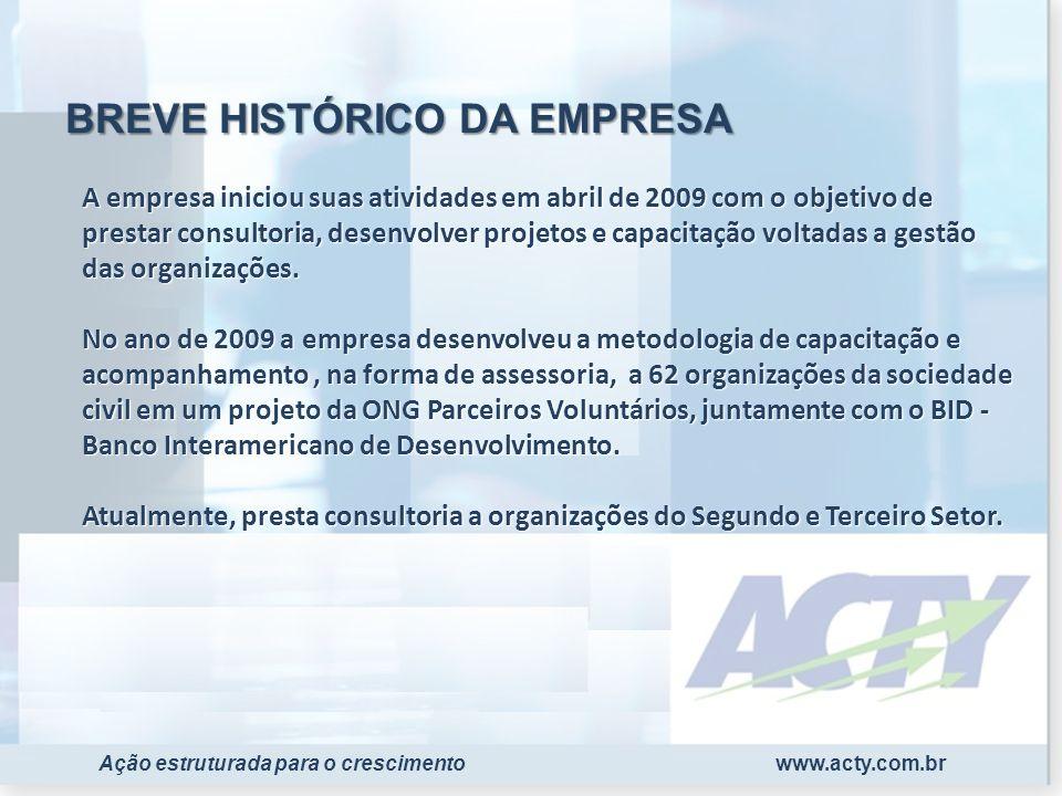 www.acty.com.brAção estruturada para o crescimento A empresa iniciou suas atividades em abril de 2009 com o objetivo de prestar consultoria, desenvolv