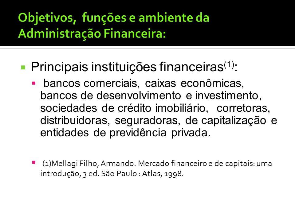 Instituições financeiras e mercados Formas básicas de obtenção de fundos: instituições financeiras (poupanças); mercados financeiros (fórum); das colo