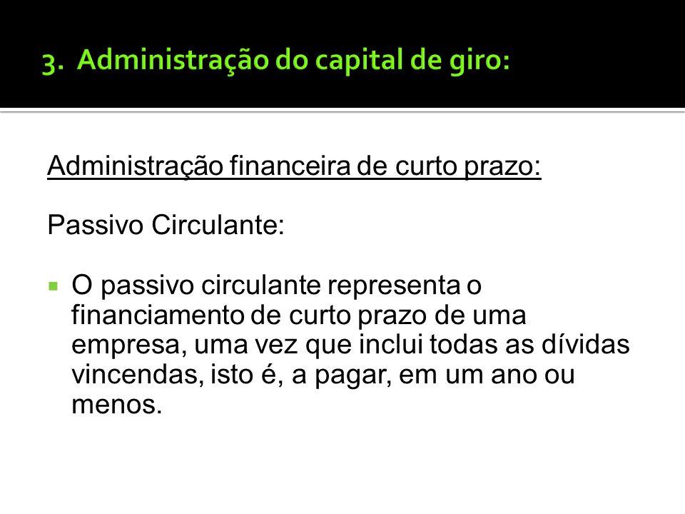 Administração financeira de curto prazo: Gestão do Ativo Circulante e do Passivo Circulante. Ativo Circulante: O Ativo Circulante, comumente chamado d